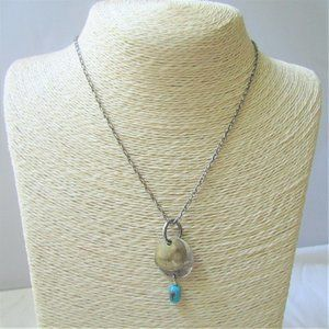 Jewelry - Silver & Brass Necklace Turquoise Blue Dangle